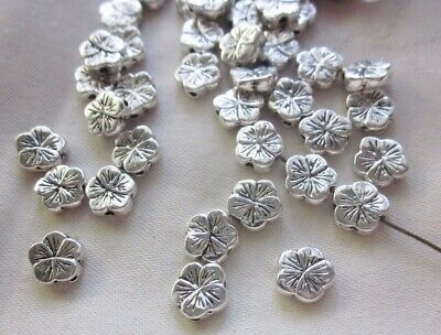 20 Silver Coloured 10mmx3mm Flower Spacer Beads #sp3269 Jewellery Making Craft