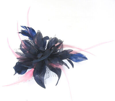 Navy and pink comb fascinator for Ascot , Races, Weddings, Ladies Day