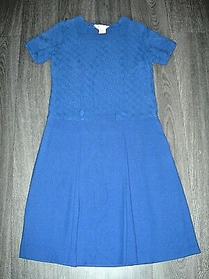 Vintage 60s 70s mod gogo dark blue box pleat shift dress linen blend 10 ish