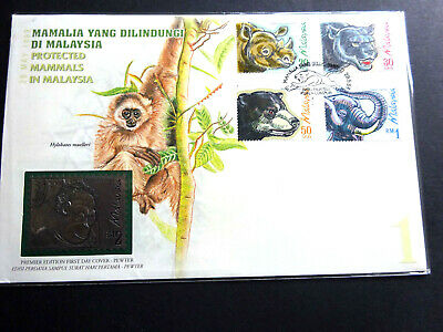 Malaysia 1999  Protected Mammals in Malaysia Premier Edition FDC -Pewter-M Sheet
