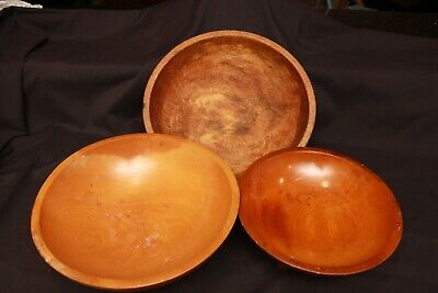 Lot of 3 Vintage Signed Munising Farmhouse Wooden Bowls Large Dough Footed Bowl