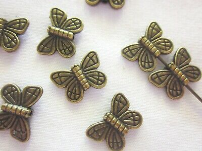 20 Antique Bronze Coloured 14mm x 10mm Butterfly Spacer Beads #sp1818 Findings