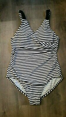 3062a73163a Merona Sz Large Swimsuit One Piece Black White Stripes Nautical Adjustable  Strap