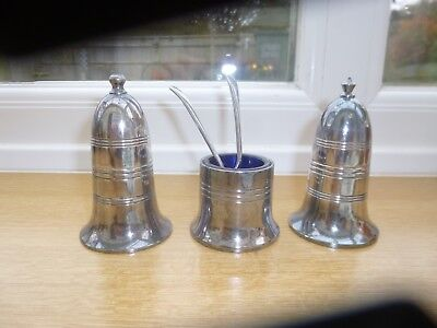 Vintage Sheffield Plated Salt And Pepper Cruet With Mustard Pot Blue Liner And 2