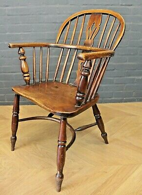 Antique Victorian Ash & Elm Low Back Windsor Chair (Farmhouse Carver Armchair)