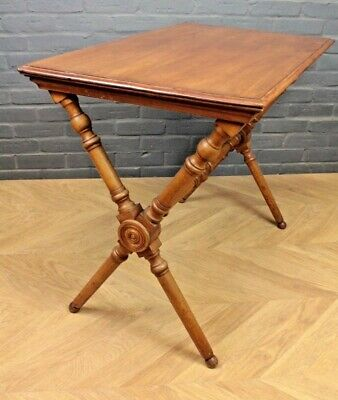 Antique Victorian Walnut X-Framed Stretcher Table Side Hall Centre Console Table