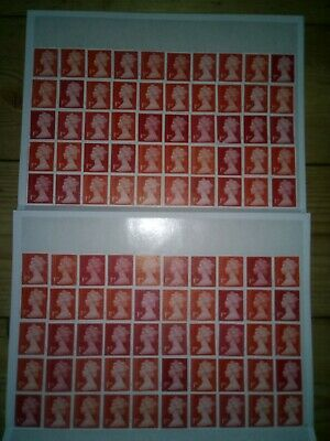 100 1ST CLASS RED SECURITY STAMPS UNFRANKED OFF PAPER WITH GUM £70 FV 70p (1R)