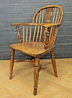 Antique Victorian Yew & Elm Low Back Windsor Chair (Farmhouse Carver Armchair)