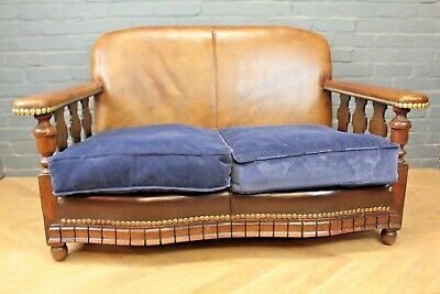 Antique Original 1930's Art Deco Brown Leather Club Sofa Settee Two Seater