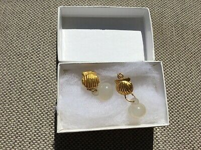 late hellenistic gold and chalcedony earrings with certificate of authenticity