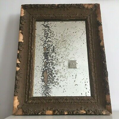 Antique French Distressed Patina Mirror Foxed Original Glass & Back Grey 41x31cm