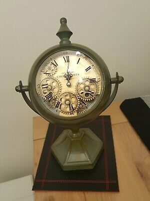 Retro Vintage French Decor Old DECO Paris Champs Elysees Table Clock  With Cogs