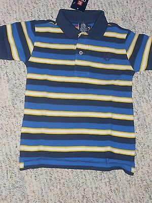 NWT - Chaps short sleeved blue, white, yellow & navy striped polo shirt - 18 mos