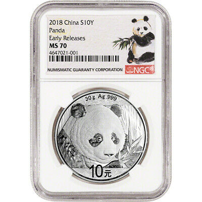 2018 China Silver Panda (30 g) 10 Yuan NGC MS70 Early Releases Ink Brush Label