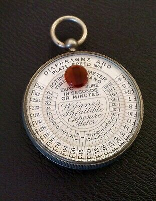 Antique Vintage Wynne's Infallible Exposure Meter,Actino Time,Pocket Watch Shape