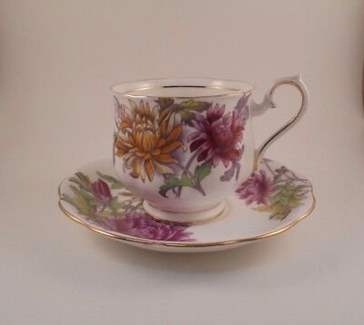 Royal Albert Footed Cup & Saucer Chrysanthemum Flower of the Month Series No. 11