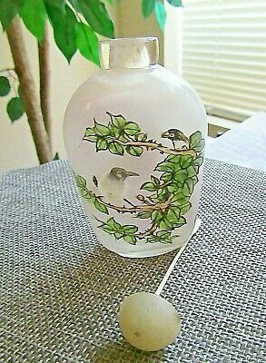 Two Sided Painting Glass Snuff Bottle- Bird Themed