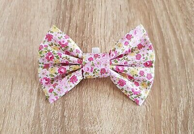 Pretty Pink Floral Dog Bow Tie