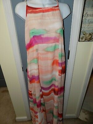 A Pea In The Pod Multi-Colored Maxi Dress Size S Women's NWOT