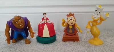 Disney Figures Beauty and the Beast Belle Lumière Cogsworth McDonald's Toys