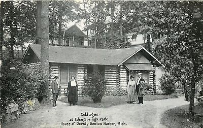 Benton Harbor Michigan~House of David~Log Cabin Cottages~Vintage Couples~1920s
