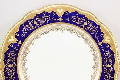 Fab Dinner Plate Antique Coalport Bone China England X5351 Cobalt Gold Encrusted