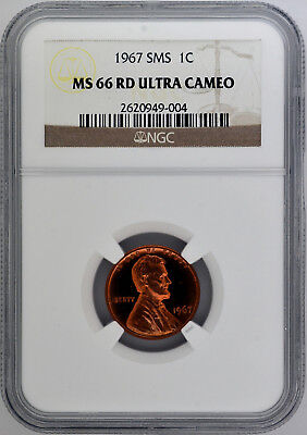 1967 1c SMS Lincoln Memorial Cent NGC MS 66 RD Ultra Cameo Top Pop!  2 / 0