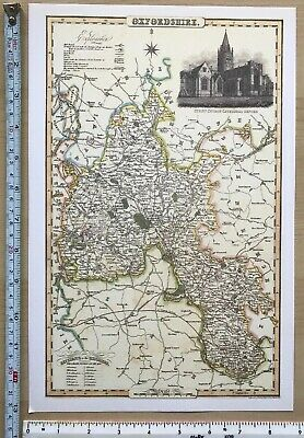 Old Victorian Map of Oxfordshire, UK 1840 Pigot: Historical, Antique: Reprint