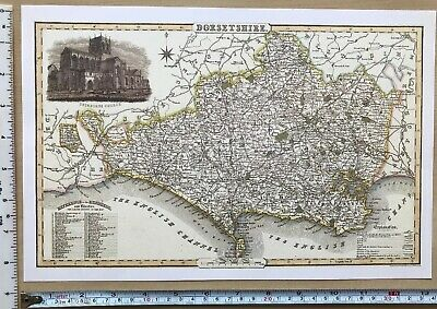 Old Victorian Map of Dorset, England 1840 Pigot: Historical, Antique: Reprint