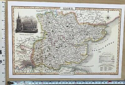 Old Victorian Map of Essex, England 1840 Pigot: Historical, Antique: Reprint