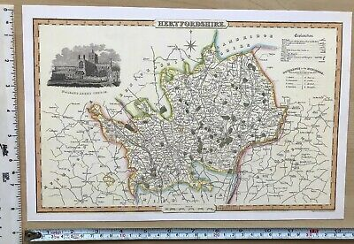 Old Victorian Map of Hertfordshire, UK 1840 Pigot: Historical, Antique: Reprint