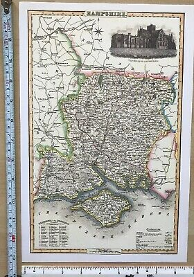 Old Victorian Map of Hampshire, England 1840 Pigot: Historical, Antique: Reprint