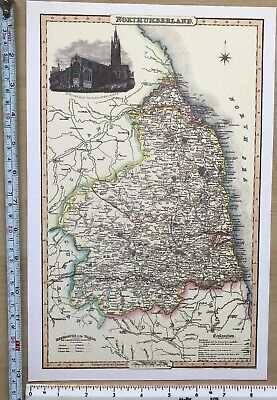 Old Victorian Map of Northumberland, UK 1840 Pigot: Historical, Antique: Reprint