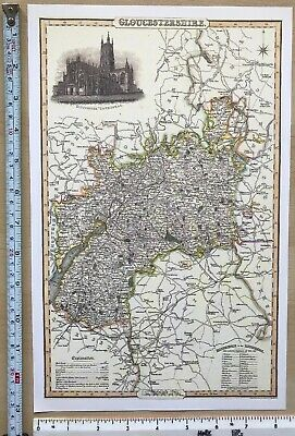 Old Victorian Map of Gloucestershire UK 1840 Pigot: Historical, Antique: Reprint