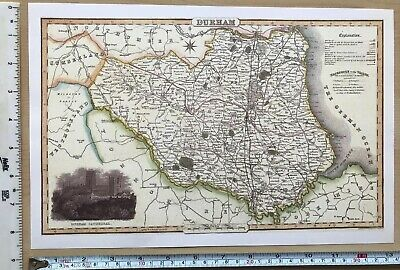 Old Victorian Map of Durham county, UK 1840 Pigot: Historical, Antique: Reprint