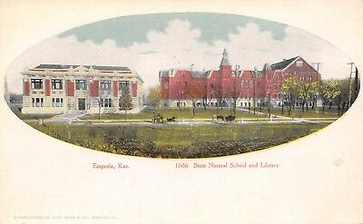 Emporia Kansas~State Normal School Buildings Vignette~Library~1905 Curt Teich PC