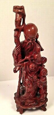 """Ancient Chinese Old Boxwood Hand carved Shou longevity god Sculpture 10.25"""""""