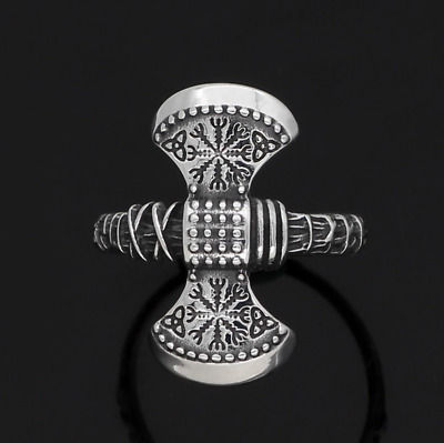 Nordic Viking Rune Vegvisir Compass Odin's Axe Stainless Steel Ring Size W