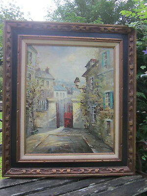 Old French Impressionist Oil Painting LUCIEN DELARUE Listed Paris Street Scene