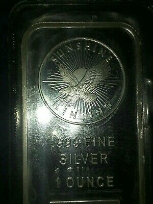 1oz .999 Fine Silver bar. Sunshine Minting. Sealed.
