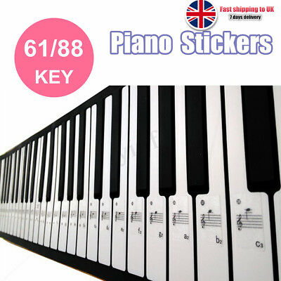 Keyboard or Piano Laminated Sticker Sets Educational Learning Aid 61/88 Key Set