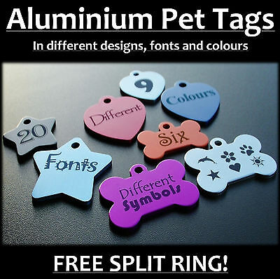 ALUMINIUM Pet Name Tag, Personalised Engraving, Dog, Cat, Collar Tags, Pet INCL!
