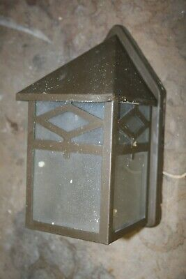 Vintage Outdoor Porch Wall Mount Light Mission Arts & Crafts Checked Glass