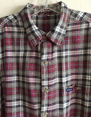 dda149af5331 GUESS Plaid Check Shirt Los Angeles Button Front Short Sleeve Men's Large