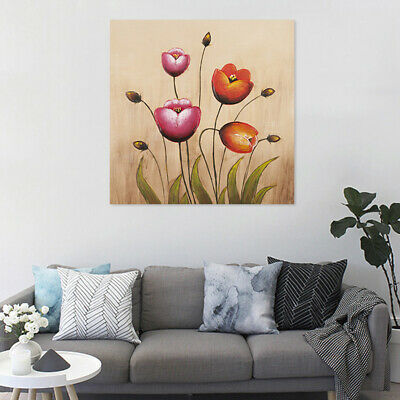 60x60cm Flowers Oil Painting Hand Painted On Canvas Modern Wall Art Decor Framed