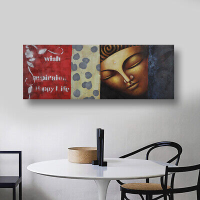 Framed Genuine Hand Painted Buddha  Oil Painting On Canvas Wall Art Home Decor