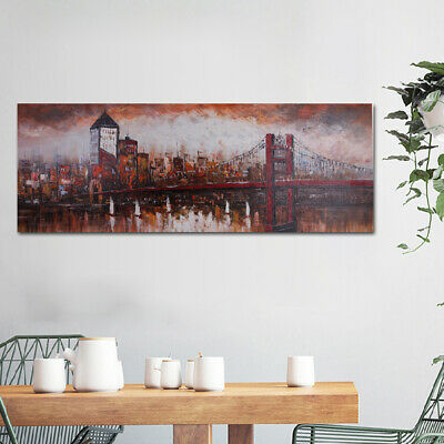 Hand-painted Modern Wall Decor Art Oil Painting On Canvas:City Bridge Framed