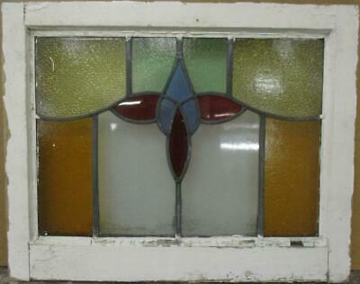 "MID SIZED OLD ENGLISH LEADED STAINED GLASS WINDOW Bordered Abstract 23"" x 18.25"""