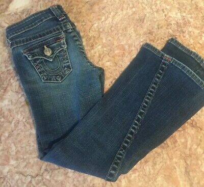 True Religion World Tour Girls Joey Big T size 8 jeans pants kids twisted flare