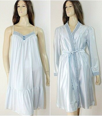 Vintage TOM BEZDUDA For Barad Nightgown Peignoir Lingerie Set Blue Nylon ESTATE